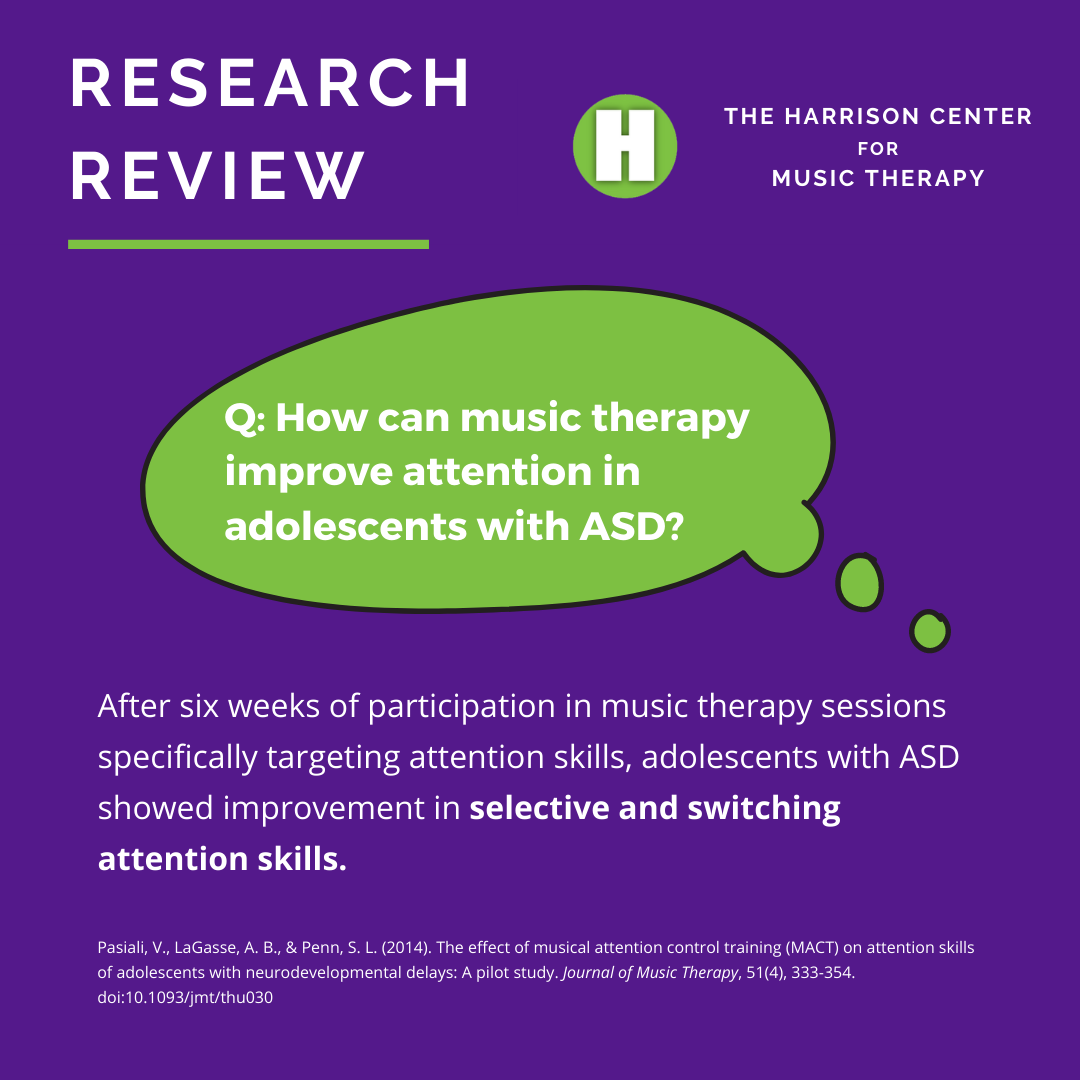 music therapy improve attention in adolescents with ASD