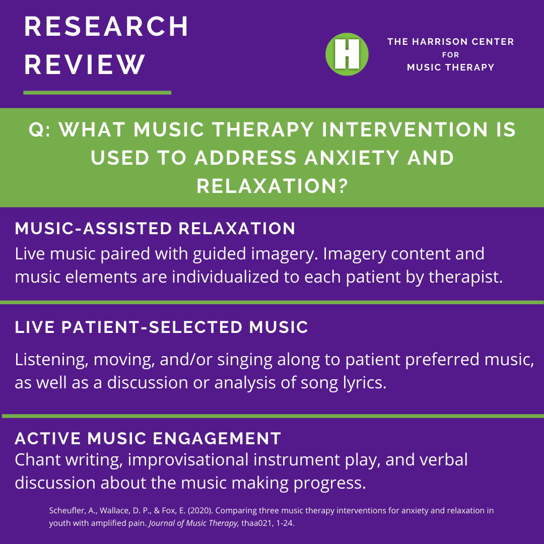 How can Music therapy impact anxiety and relaxation?